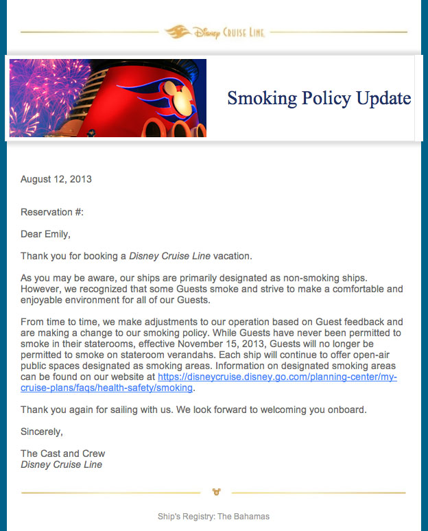 Disney Cruise Line Updates Smoking Policy Prohibiting Smoking On - Is there smoking on cruise ships