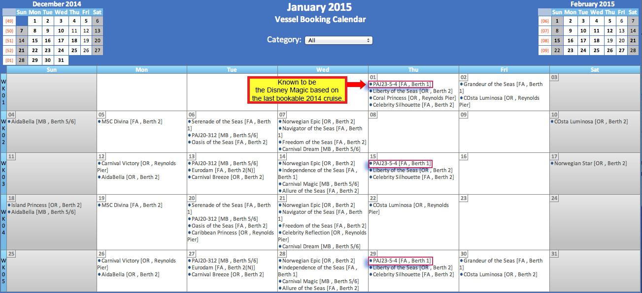 Jamaica Port Calendar January 2015 Mystery Ship PAJ23-5-4 = Disney Magic