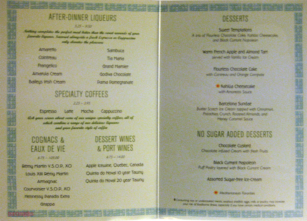 Mediterranean Dinner Menu Dessert May 2013