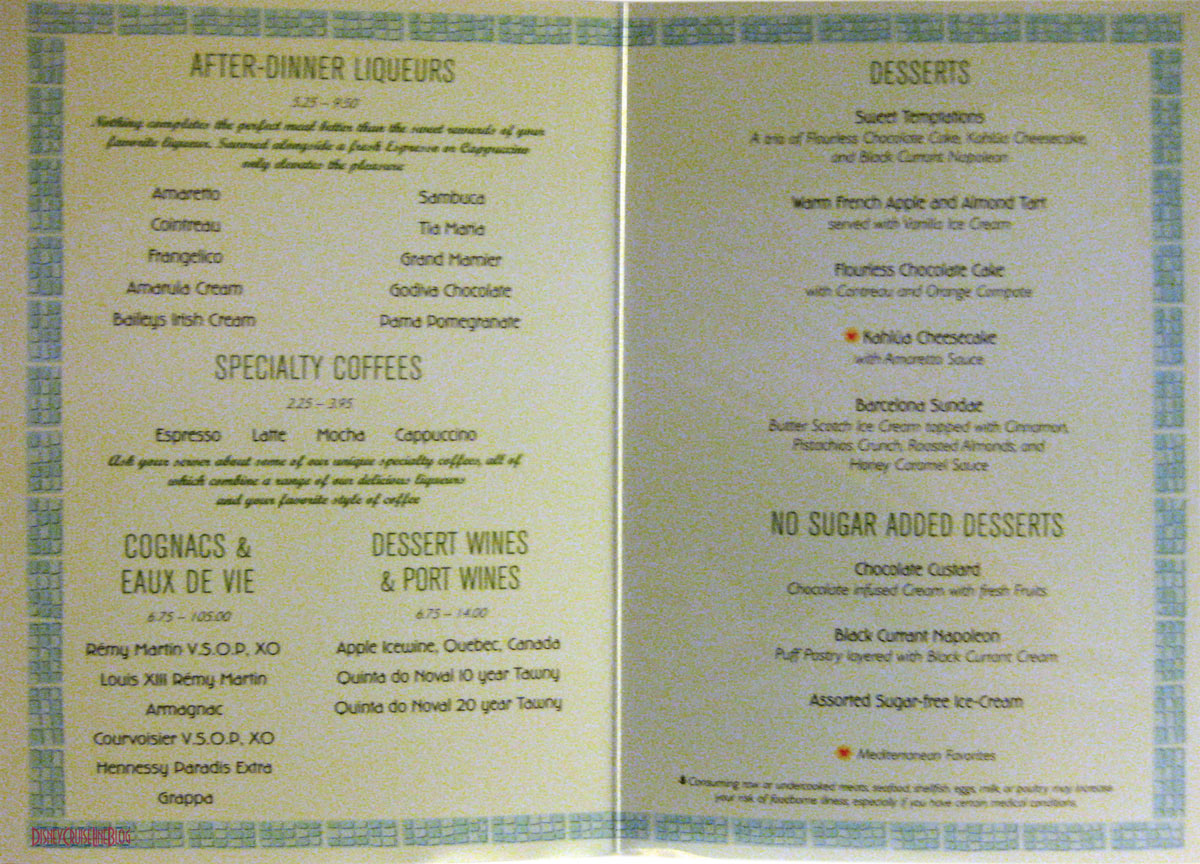 Mediterranean Dinner Menu The Disney Cruise Line Blog