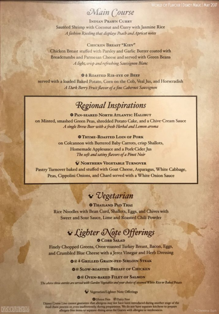 World Of Flavour Dinner Menu B Magic May 2017