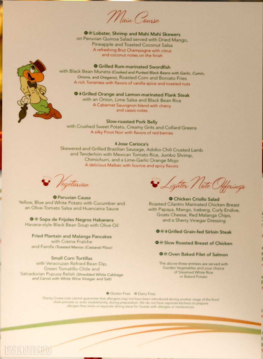 Carioca S Menu Disney Magic The Disney Cruise Line Blog
