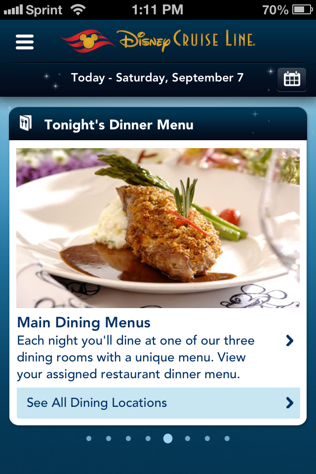 DCL App Screenshot Live Tonight's Dinner Menu