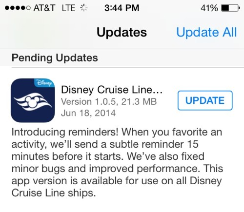 DCL Navigator App Update All Ships Reminders June 2014
