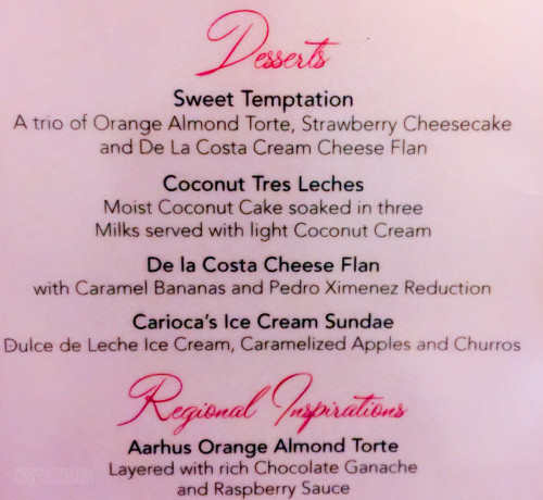 Carioca's Dessert Menu April 2015