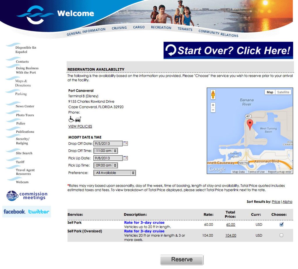 Port Canaveral Parking Choose Service