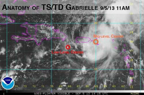 TD Gabrielle Tilted Visible Satellite 2013 Sept 05 11AM