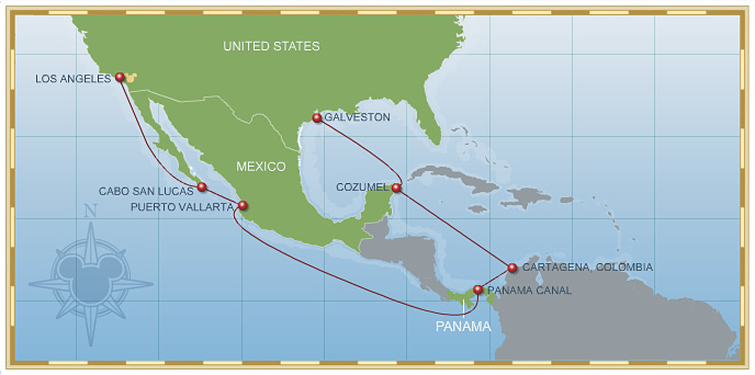 14 Night Eastbound Panama Canal Cruise Disney Wonder Itinerary B