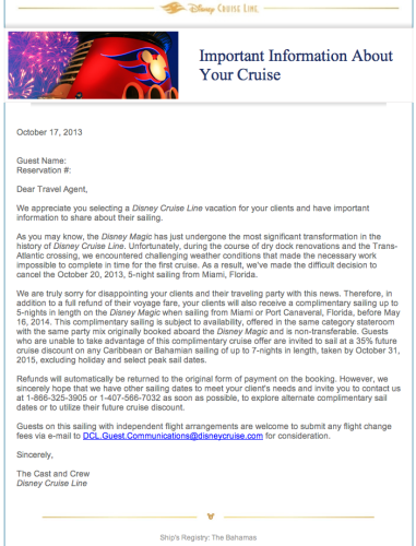 DCL Letter Disney Magic Oct 20 Cancellation 2013