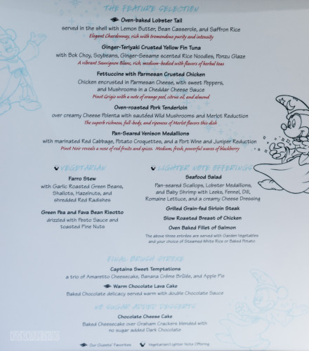Animation Magic Dinner Menu Captain's Gala