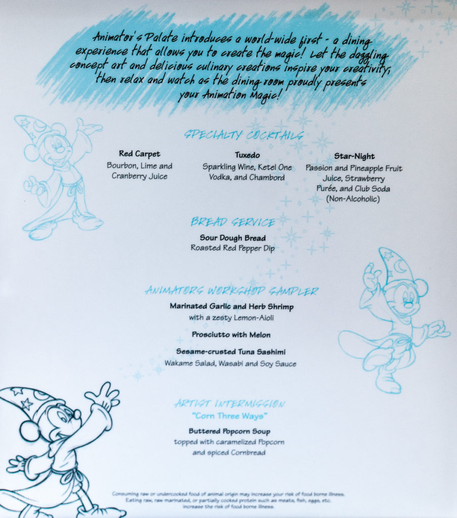 Animation Magic Dinner Menu Captain's Gala Right
