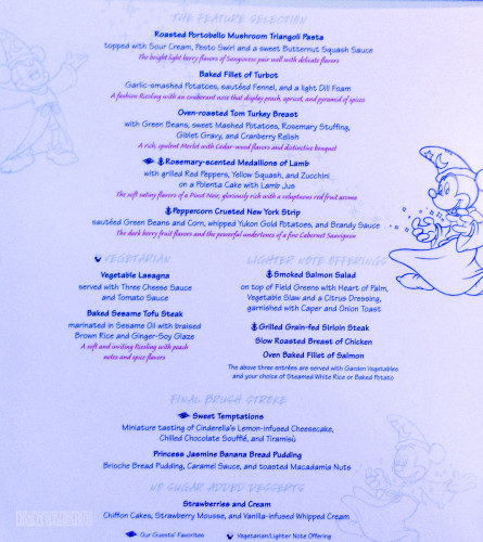 Animation Magic Dinner Menu Prince & Princess Night
