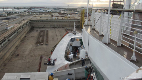 Disney Magic Dry Dock Cadiz KUB Paint Bow Crew Pool Deck Above Bridge