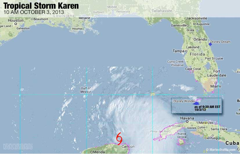 Tropical Storm Karen Disney Wonder Map 2013 Oct 3 10AM
