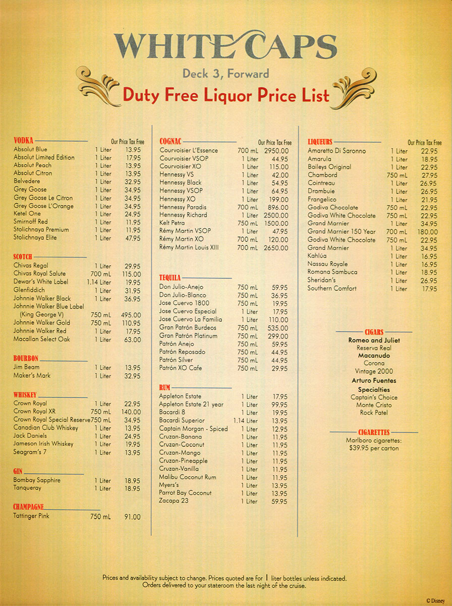 Disney Fantasy Spa Price List