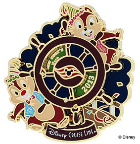 DCL 2014 New Years Chip Dale Ship Wheel Pin