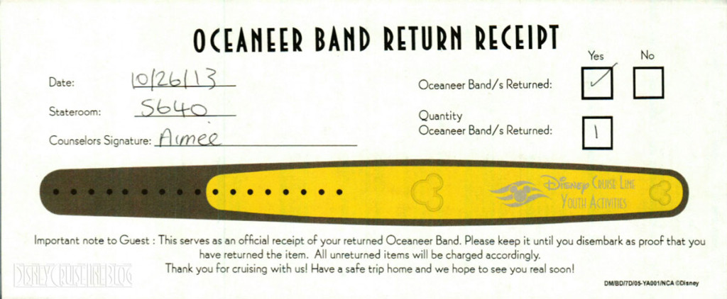 DCL Youth Activities Oceaneer Band MagicBand Return Receipt