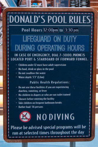 Disney Dream Donald's Pool Rules Lifeguard ON Duty