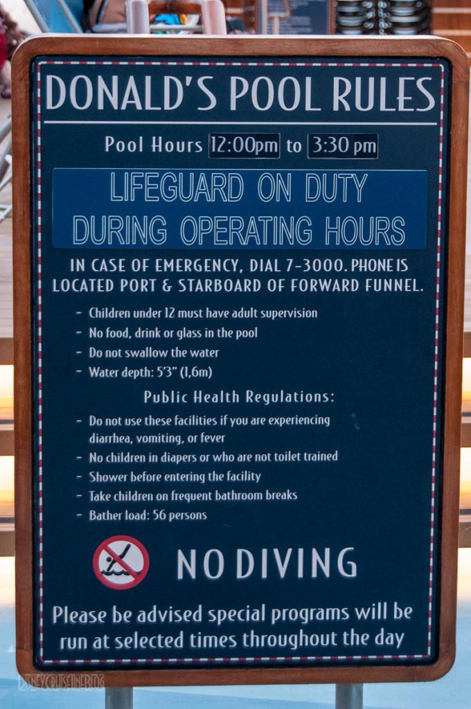 Disney Dream Donald's Pool Rules Lifeguard ON Duty