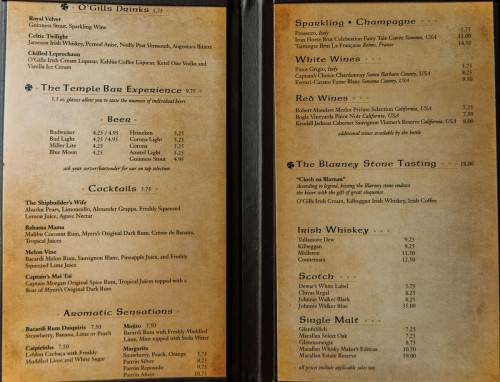 Disney Magic O'Gills Menu