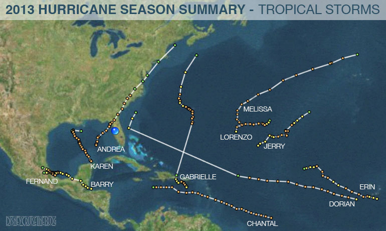 Hurricane Season 2013 Summary Tracks Tropical Storms