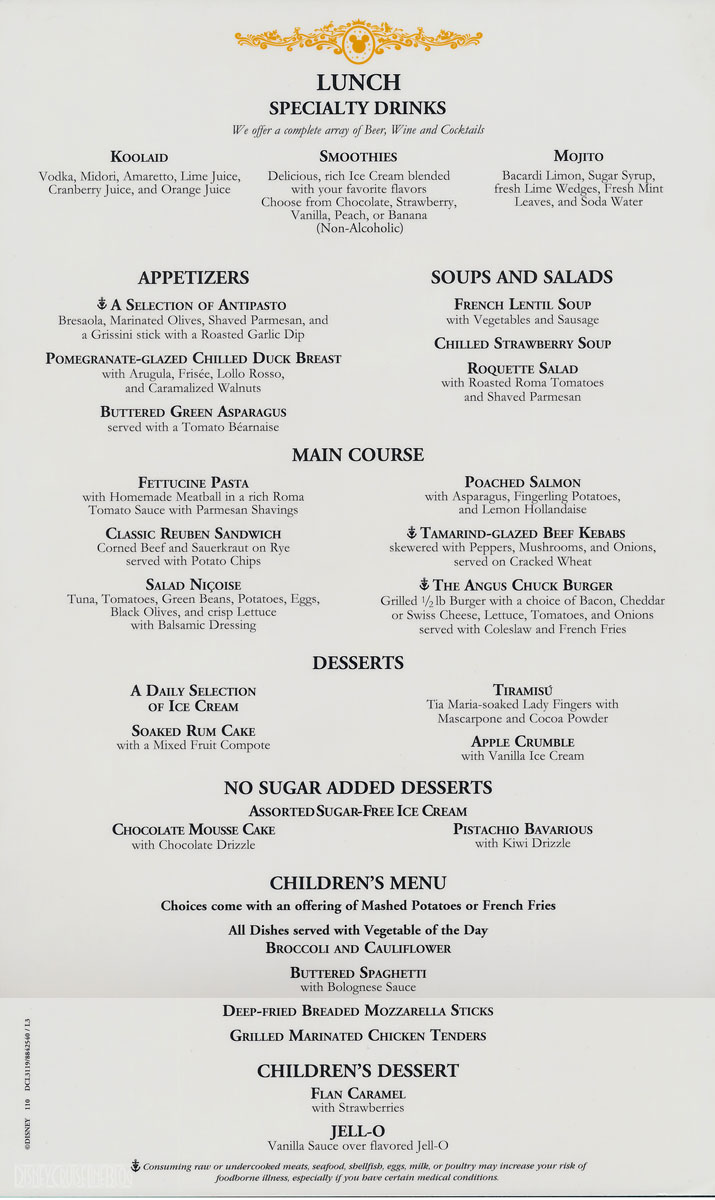 Mesmerizing allure of the seas main dining room menu 28 on for Dining room jonesborough tn menu