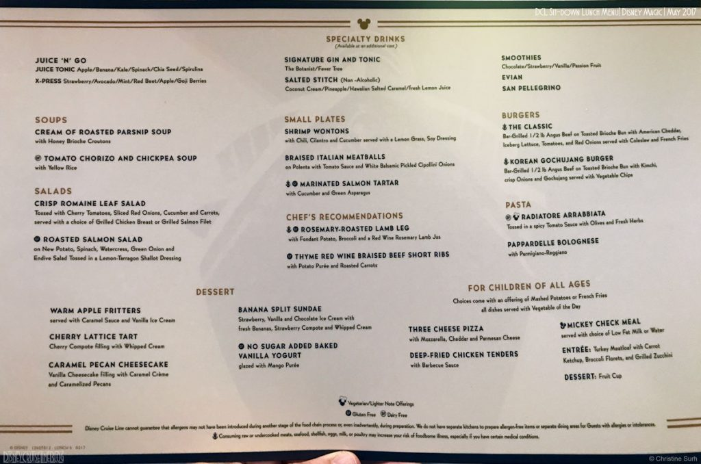DCL MDR Lunch Menu 6 Magic May 2017