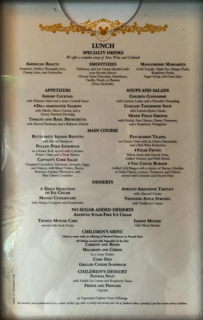 Lumiere's Lunch Menu 2 July 2015 Magic