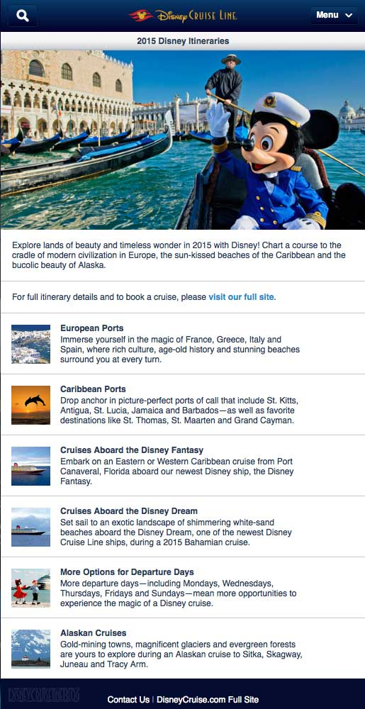 Itinerary Schedule Current: Potential 2015 Itinerary Teaser From Disney Cruise Line