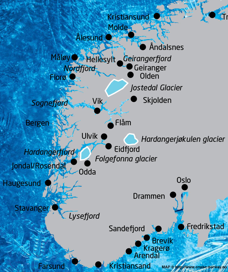 Norwegian Cruise Destinations Map