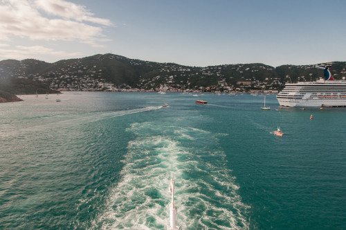 Leaving St Thomas And The Carnival Glory