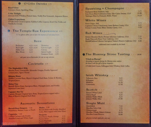 Disney Fantasy OGills Drink Menu December 2012