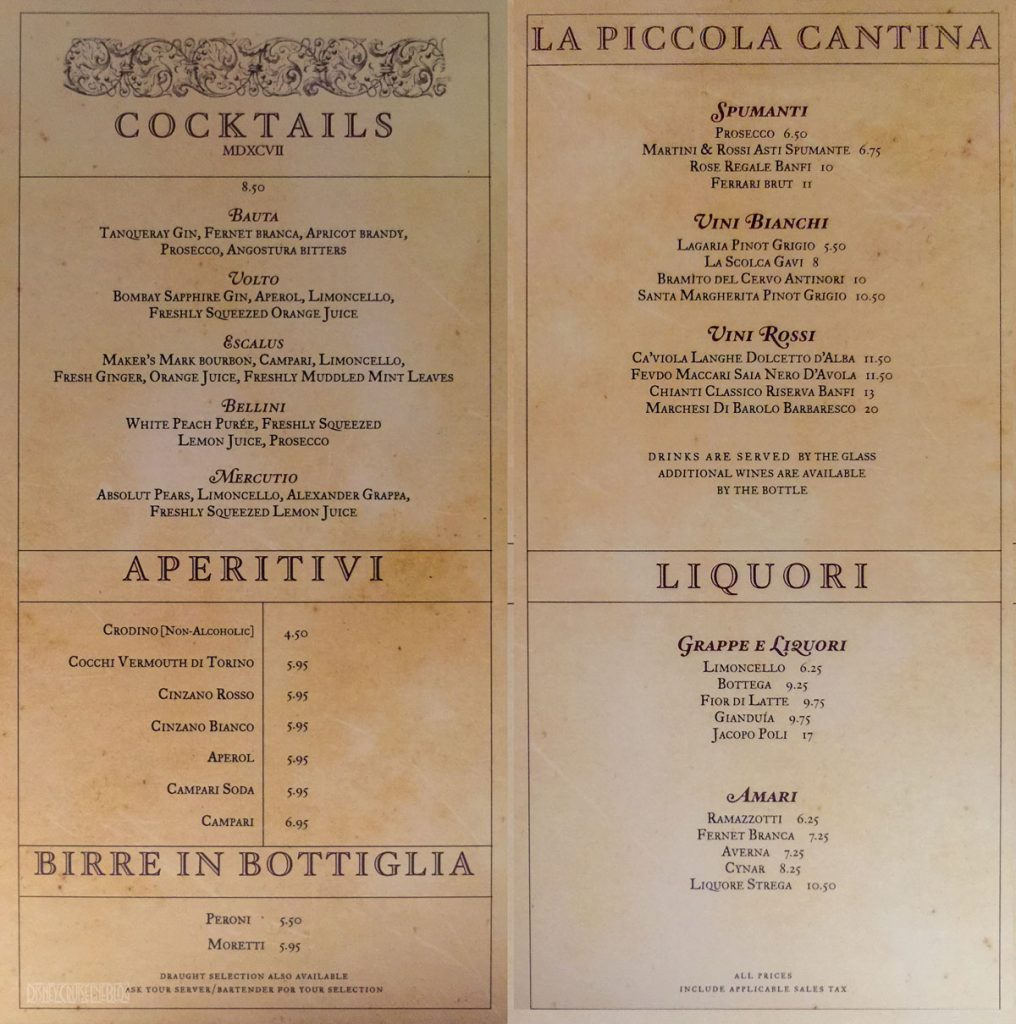 Europa Lounge Drink Menu Fantasy June 2015