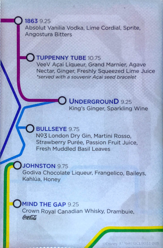 The Tube Drink Menu Fantasy June 2016