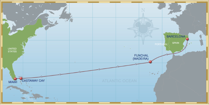 11 Night Westbound Transatlantic Cruise On Disney Magic Itinerary A