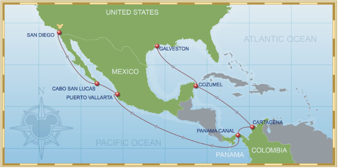 14 Night Eastbound Panama Canal Cruise On Disney Wonder Itinerary A