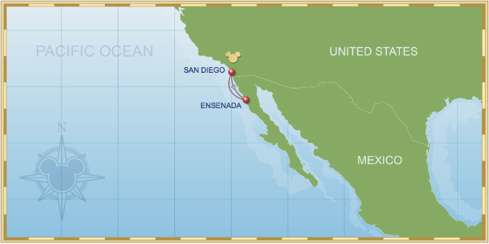 3 Night Baja Cruise On Disney Wonder Itinerary A