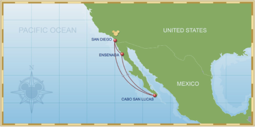 5 Night Baja Cruise On Disney Wonder Itinerary A