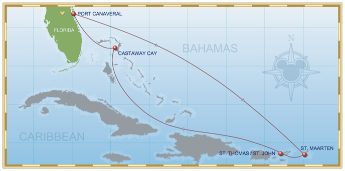 7 Night Eastern Caribbean Cruise On Disney Fantasy Itinerary A