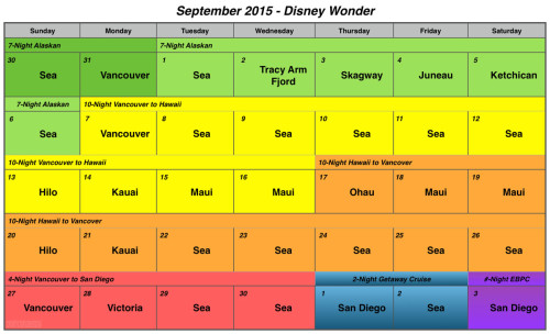 DCL Wonder Estimated Sailing Schedule September 2015