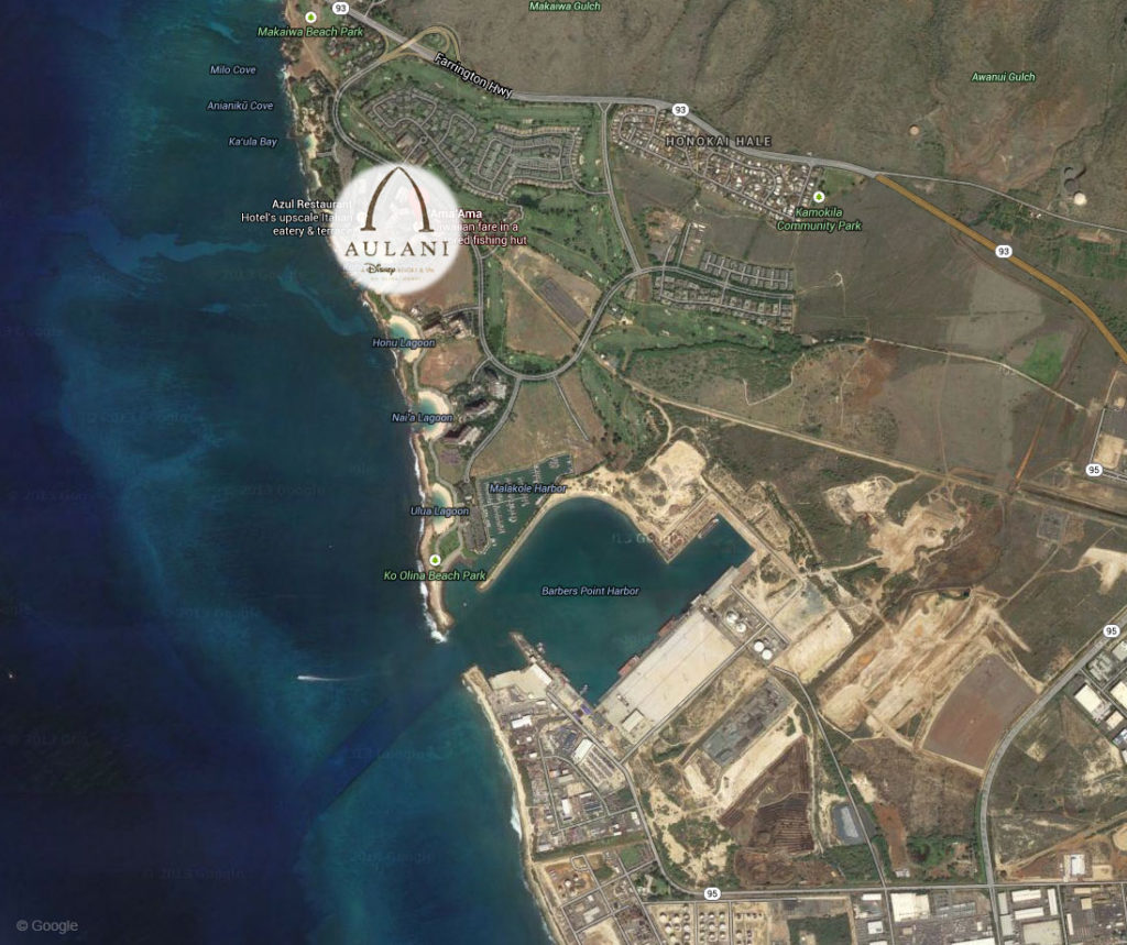 Google Satellite Hawaii Aulani Barbers Point Harbor