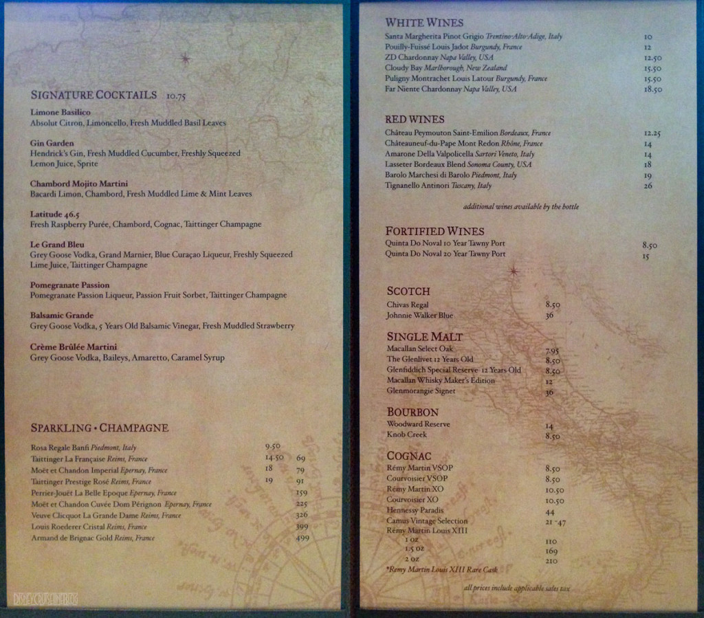 Meridian Drink Menu Disney Fantasy