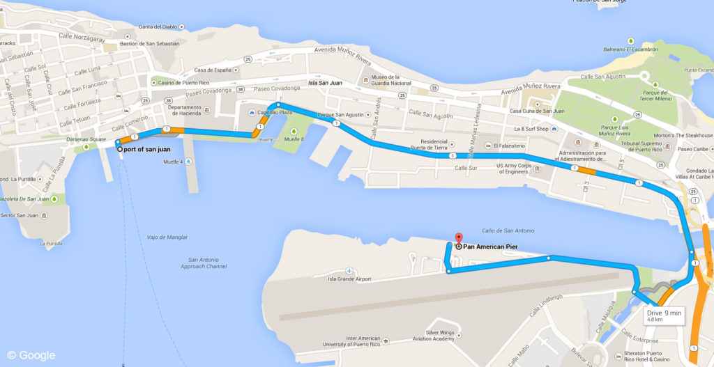 Port Old San Juan To Pan American Port Map Puerto Rico
