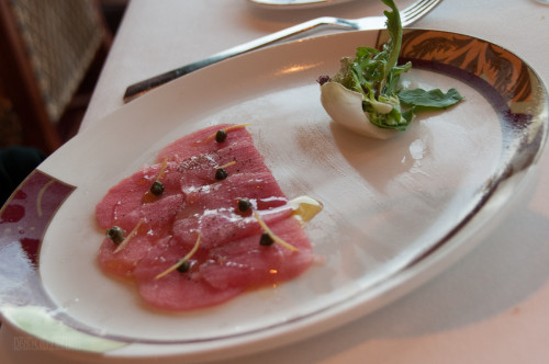 Palo Wine Pairing Tuna Carpaccio And Lemon Oil Dressing