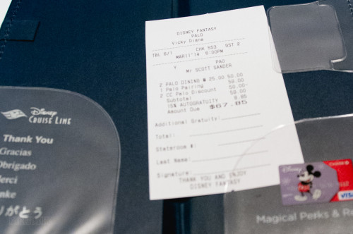 Palo Wine Pairing Receipt March 2014 Fantasy