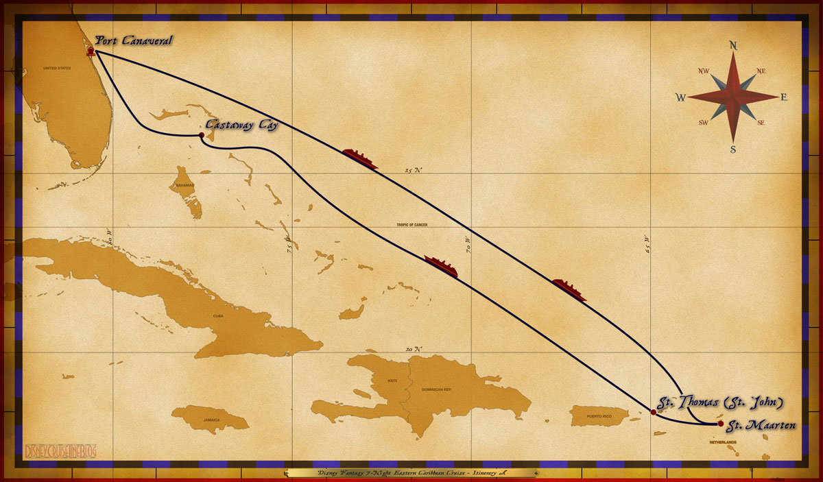 Port Canaveral, FL • At Sea • At Sea • St. Maarten • St. Thomas (w. St. John excursions) • At Sea • Disney's Castaway Cay