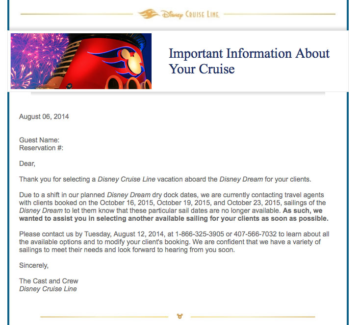 DCL Disney Dream October 2015 Dry Dock Cancelation Letter