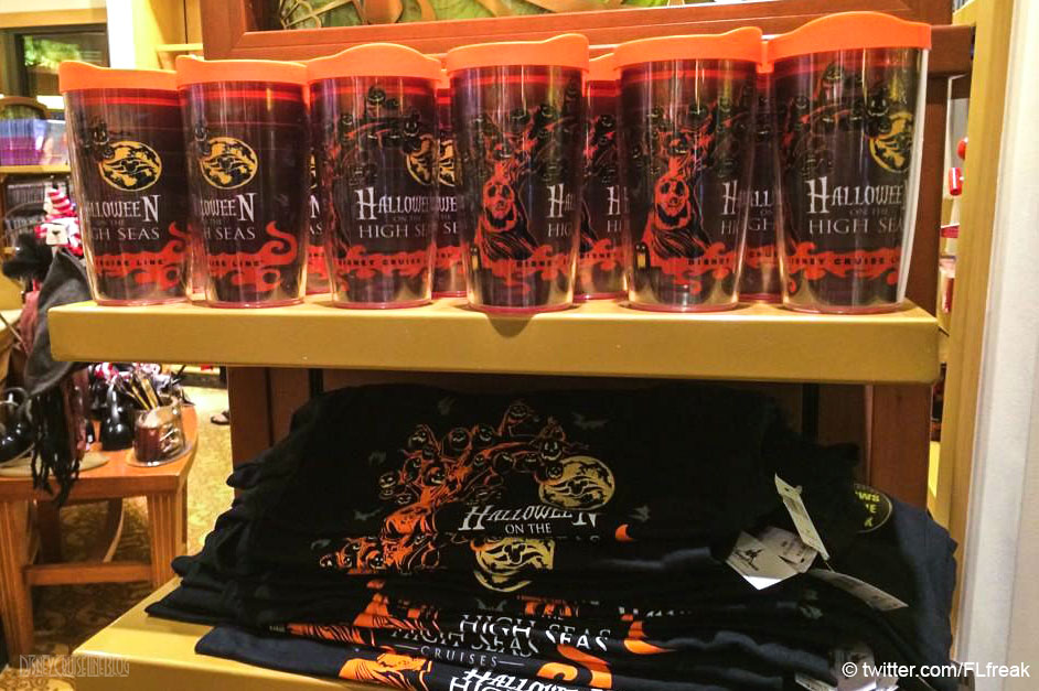 Disney Cruise Line Halloween Merchandise.2014 Halloween On The High Seas Tervis Tumbler And T Shirt The