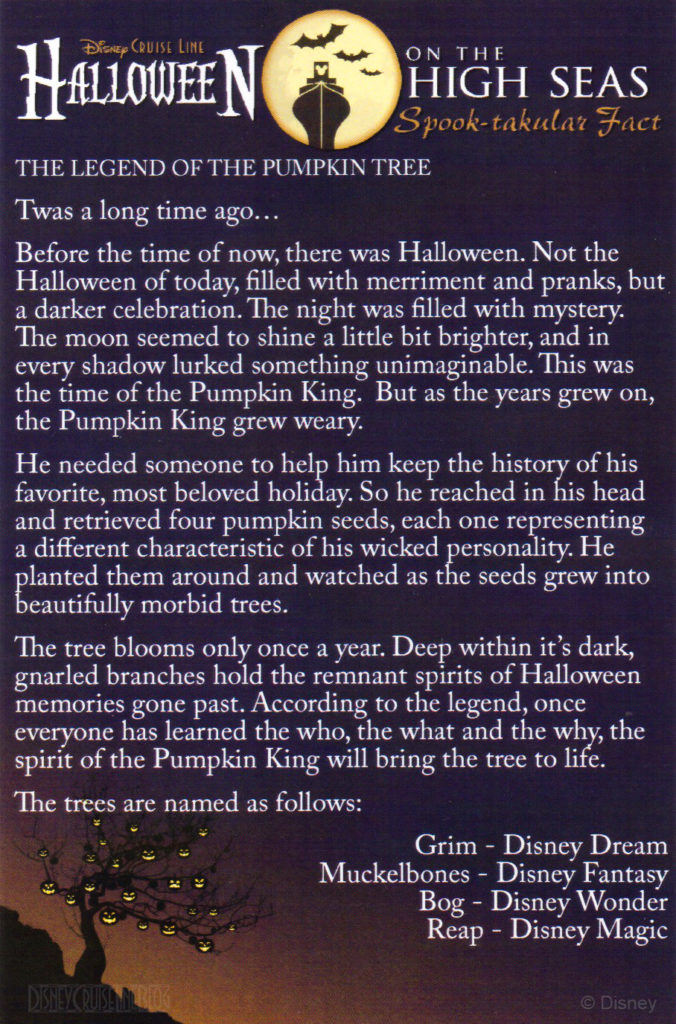 DCL Halloween Pumpkin Tree Legend Names 2014