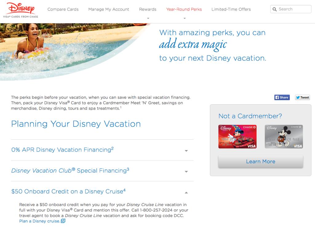 Disney Visa Vacation Perks Septemebr 2014